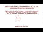 Jurisdiction of the visa office in Caracas for temporary residence applicants